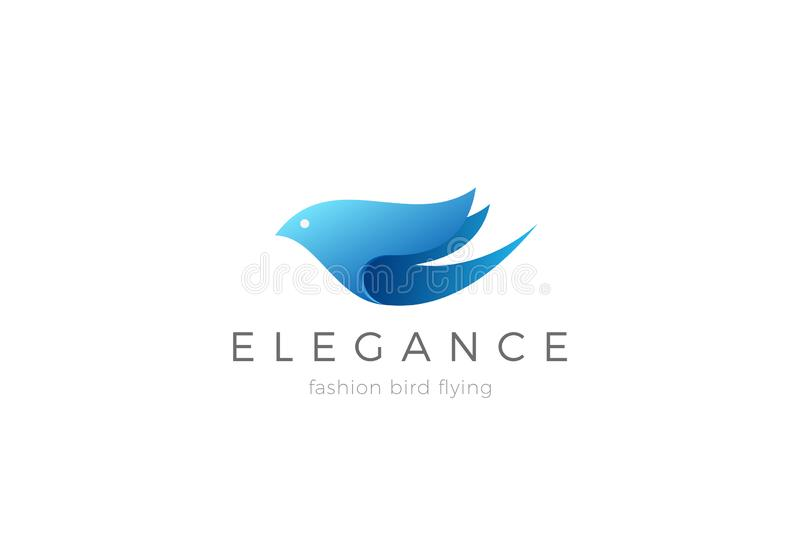 Flying Bird abstract Logo Elegant design vector template. Cosmetics SPA Fashion Beauty Health Care logotype concept icon royalty free illustration