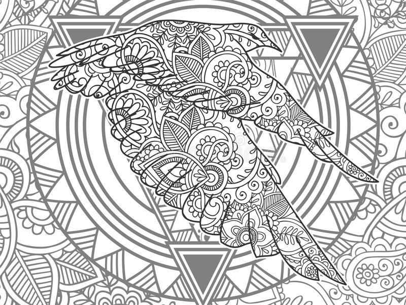 Download Flying Bird Black And White Animal Hand Drawn Doodle Stock Illustration