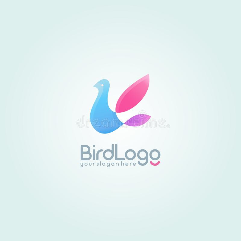 Flying Bird logo. Colorful logotype design template. vector illustration
