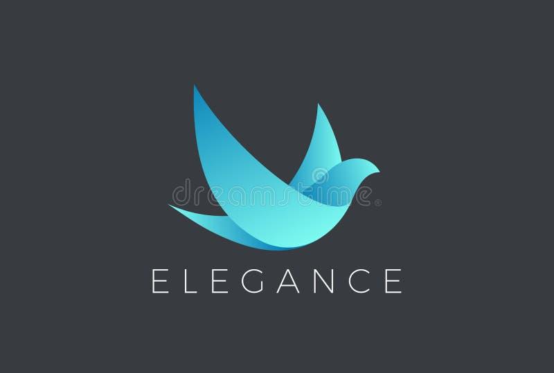 Flying Bird Logo design vector. Dove Pigeon Cosmet stock illustration