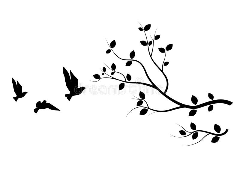 Flying Birds On Branch, Birds Silhouette, Birds on Tree, Art Design, Wall Art, Wall Decals vector illustration
