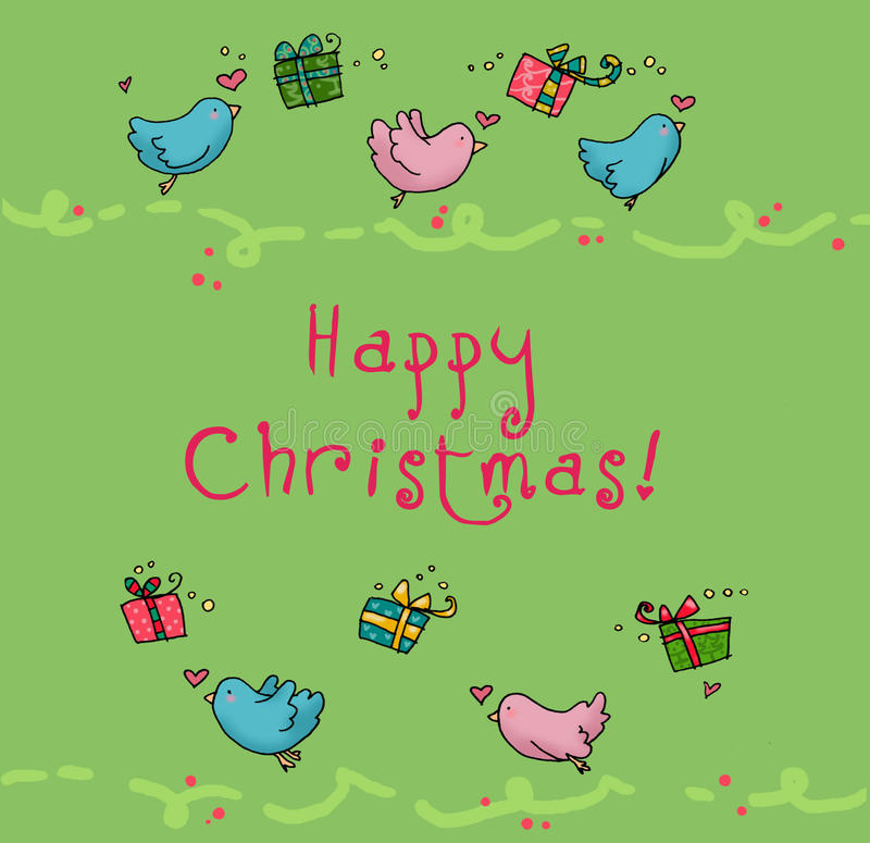 Flying birds christmas card royalty free stock photography