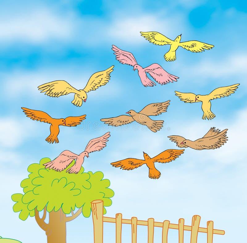 Flying birds. Illustration of birds flying through the sky royalty free illustration