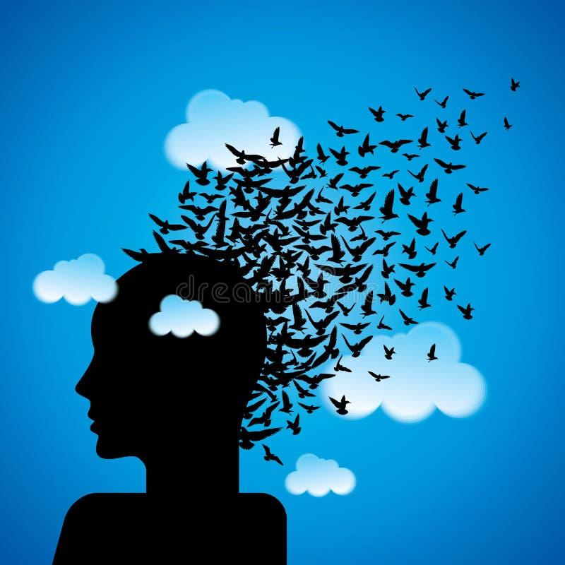 Flying birds to human head stock illustration