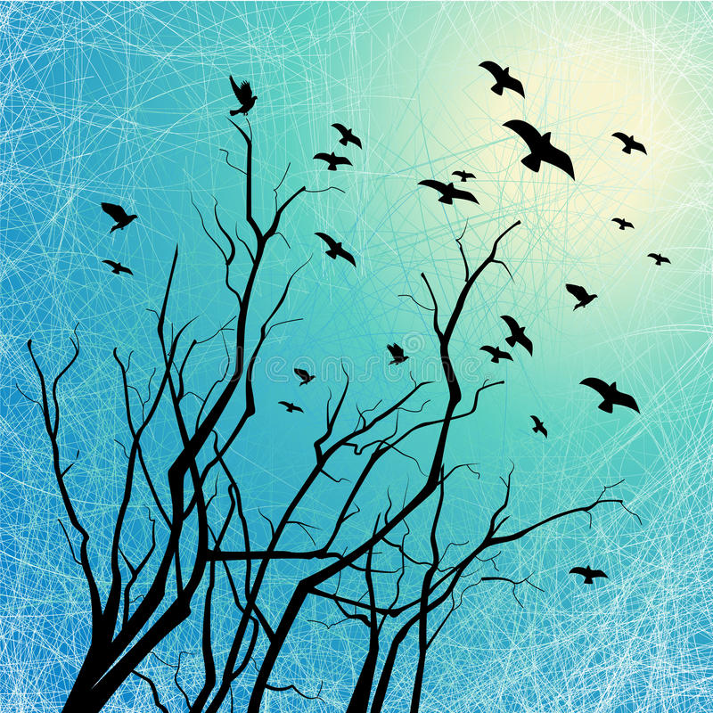 Download Flying Birds And Tree Branches On Grunge Back Lit Stock Vector - Image: 13845034
