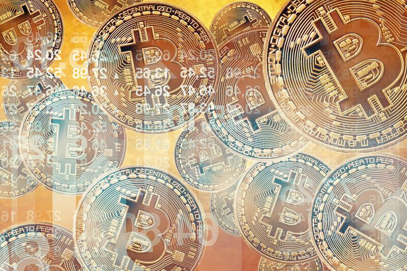 Flying Bitcoin as most important cryptocurrency concept. Crypto currency Gold Bitcoin, BTC, Bit Coin. Close-up Blockchain stock image