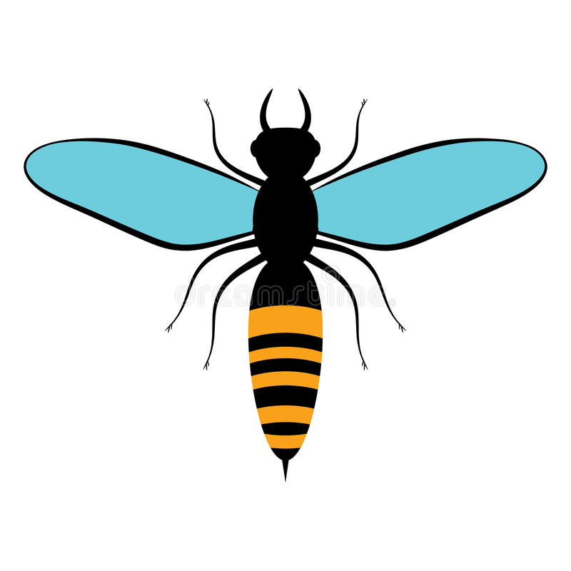 Flying black bee with blue wings. Bee icon, on white background. Insects. Flat style. Flying black bee with blue wings. Bee icon, on white background. Insects stock illustration