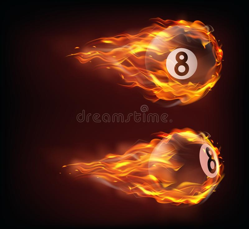 Flying black billiard eight ball in fire. Isolated on black background. Vector realistic pool or snooker ball with number 8 in flame with sparks. Template for vector illustration