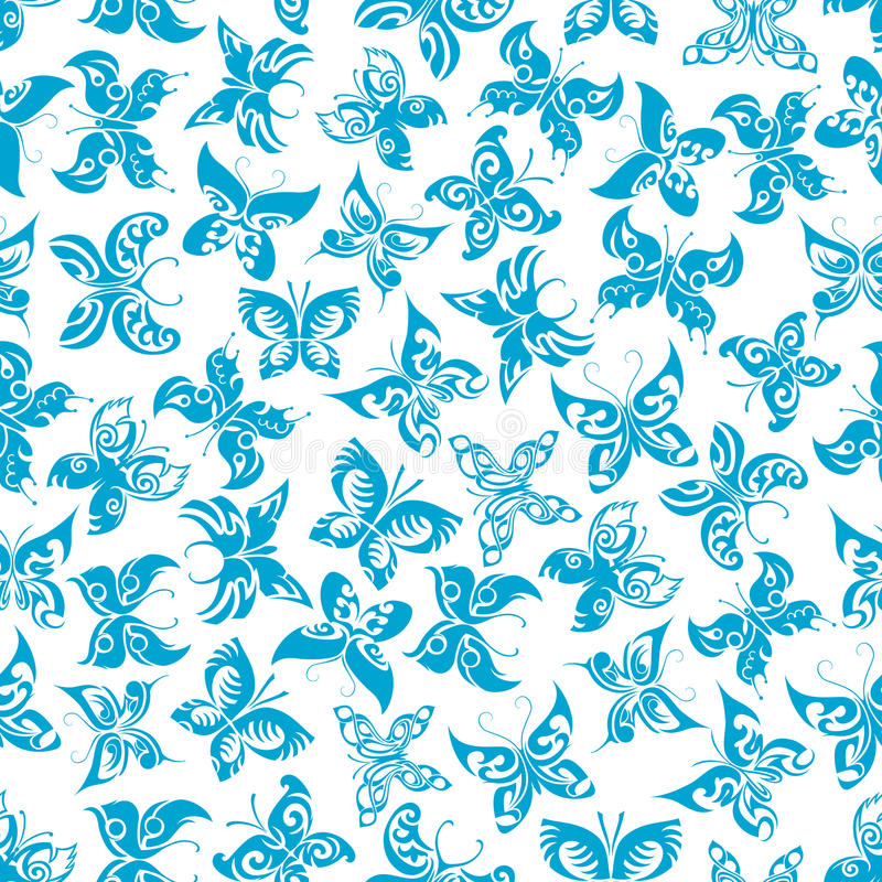 Flying blue butterflies seamless pattern. Blue butterflies seamless pattern of flying fragile insects with ornamental wings and curly antennae on white vector illustration