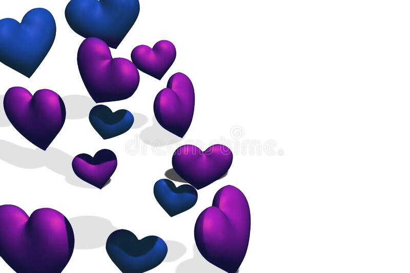 Flying blue and purple hearts on isolated white background. Mockup or template for Valentines day or wedding greeting card. 3D royalty free illustration