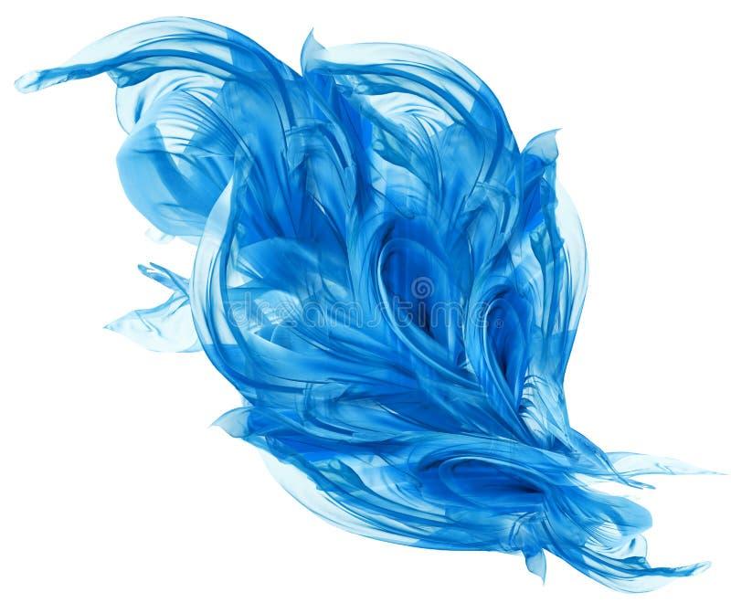 Flying Blue tyg, vinkande flödande siden- torkduk som fladdrar Abstra royaltyfri bild
