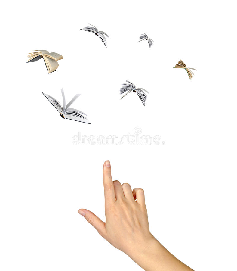 Flying books. As a metaphor for spreading of knowledge stock image