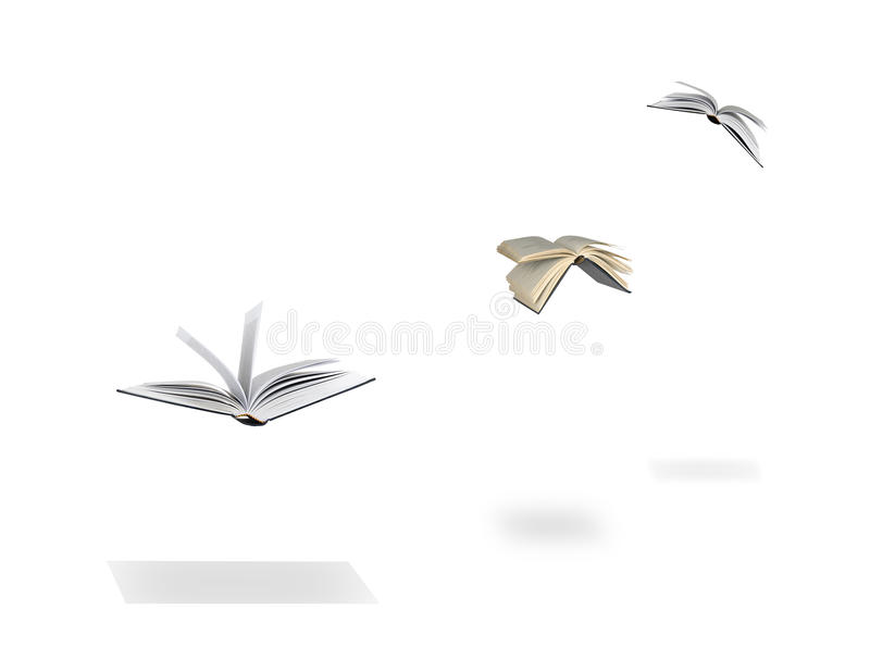 Flying books. As a metaphor for spreading of knowledge royalty free stock photography