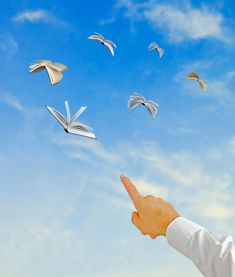 Flying books. As a methaphor royalty free stock image