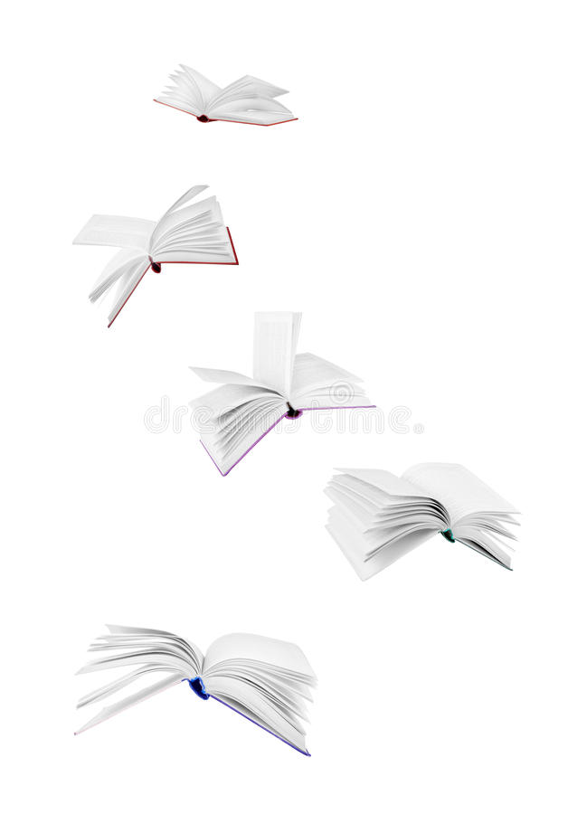 Flying books. Isolated on white royalty free stock photography