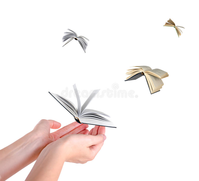 Flying books. On white background royalty free stock photo
