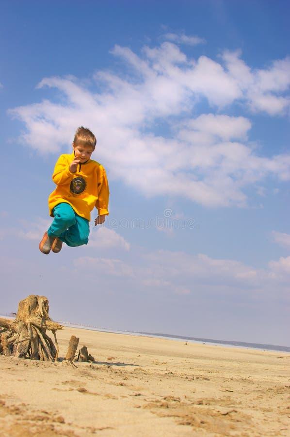 Flying boy stock image