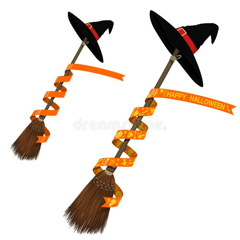 Flying Broom with ribbon. On transparent background vector illustration