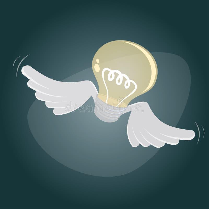 Flying bulb royalty free illustration