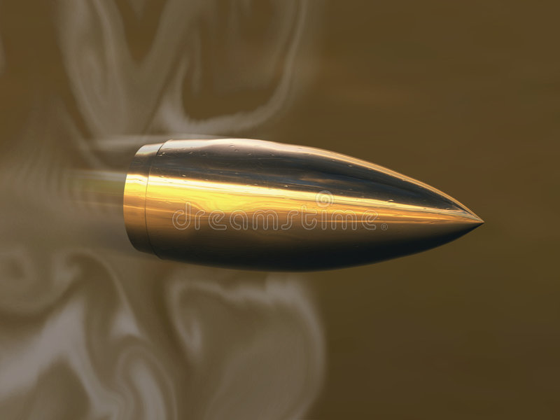 Flying bullet. In fog, 3D
