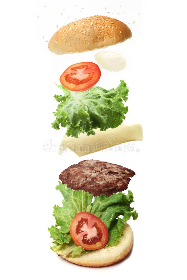 The flying burger stock photo