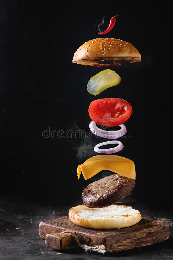 Flying burger stock photography