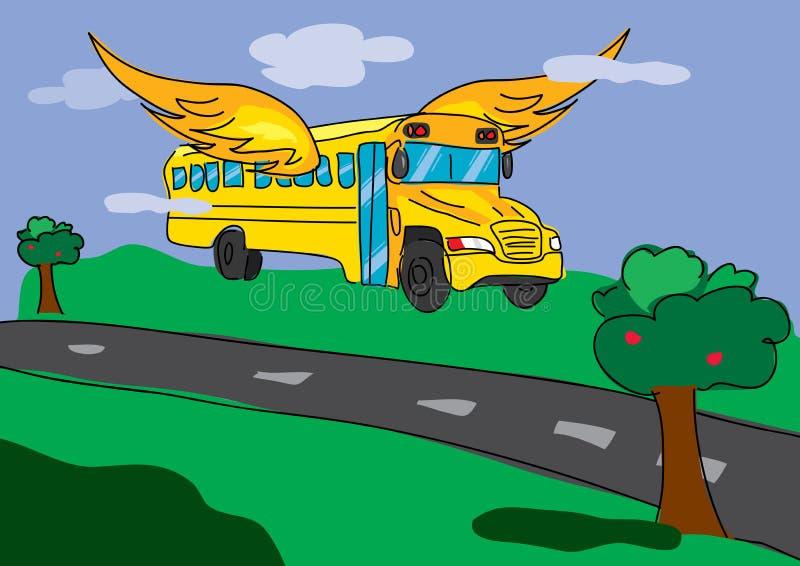 Flying bus, back to school illustration royalty free illustration