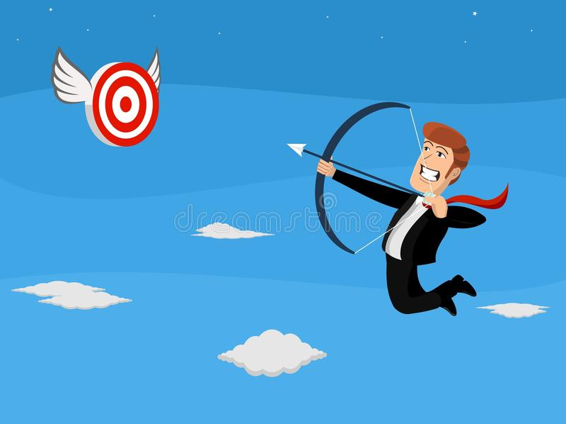 Flying businessman shooting arrow at target stock image