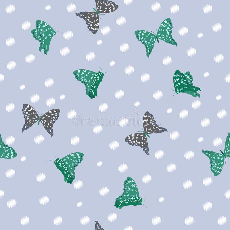 Flying butterflies in the garden bright summer seamless pattern vector illustration