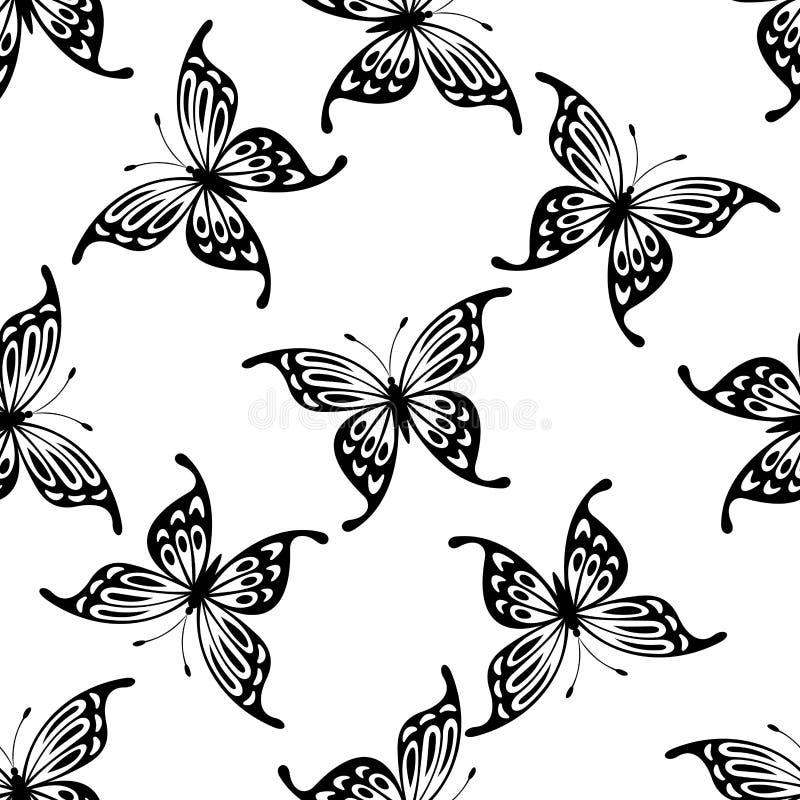 Flying butterflies seamless background pattern stock illustration