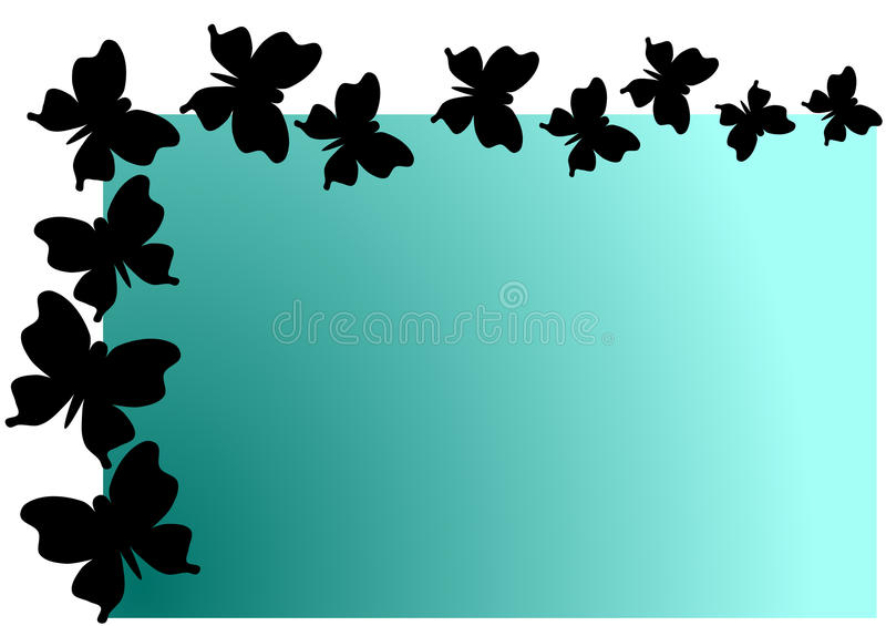 Flying Butterflies Shadow Invitation Card. Card with flying butterflies shadow border. Can be used as party invitation, a greeting card or a place tag royalty free illustration
