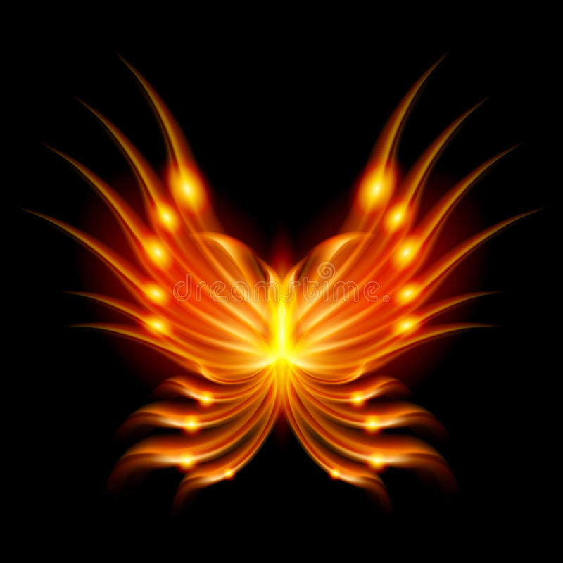 Flying butterfly with fiery wings stock illustration