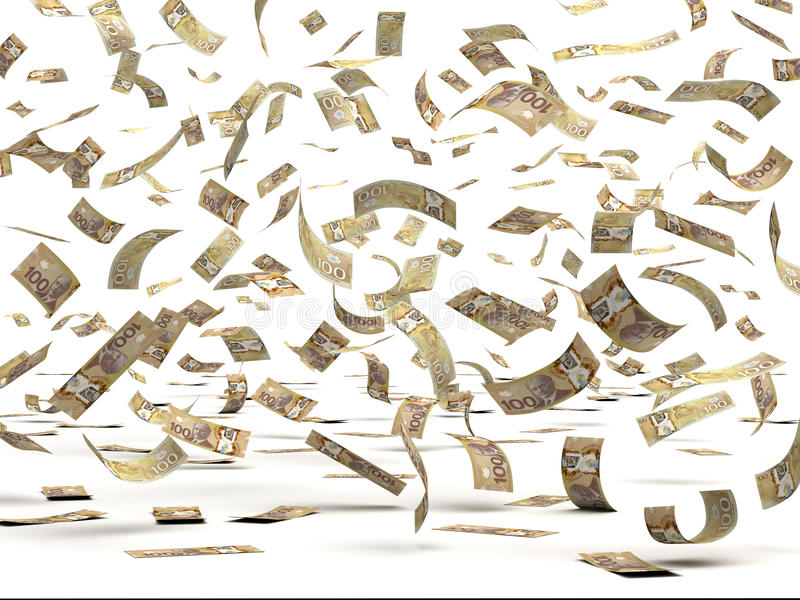 Flying Canadian Dollars stock images
