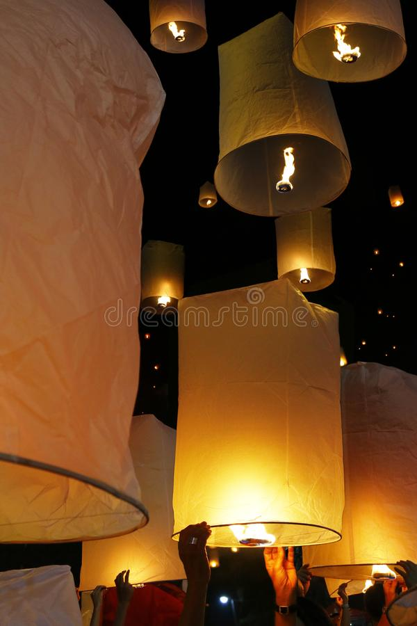 Flying candle during Loy krathong festival. Chiang mai , Thailand stock images
