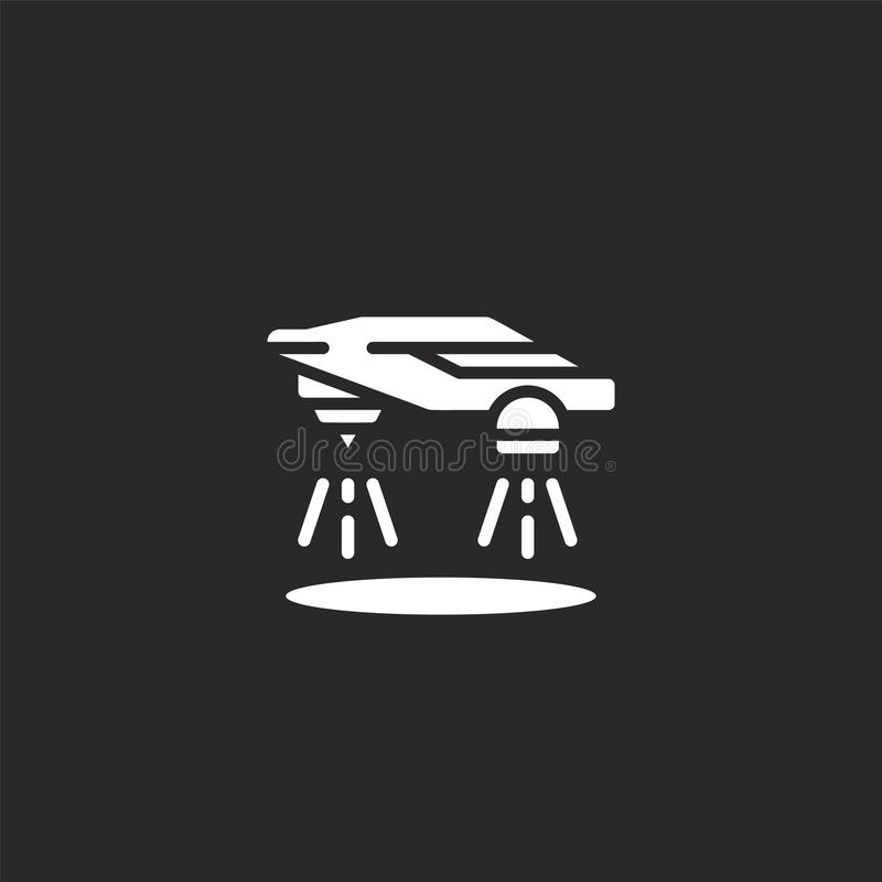 Flying car icon. Filled flying car icon for website design and mobile, app development. flying car icon from filled sci fi. Collection isolated on black vector illustration