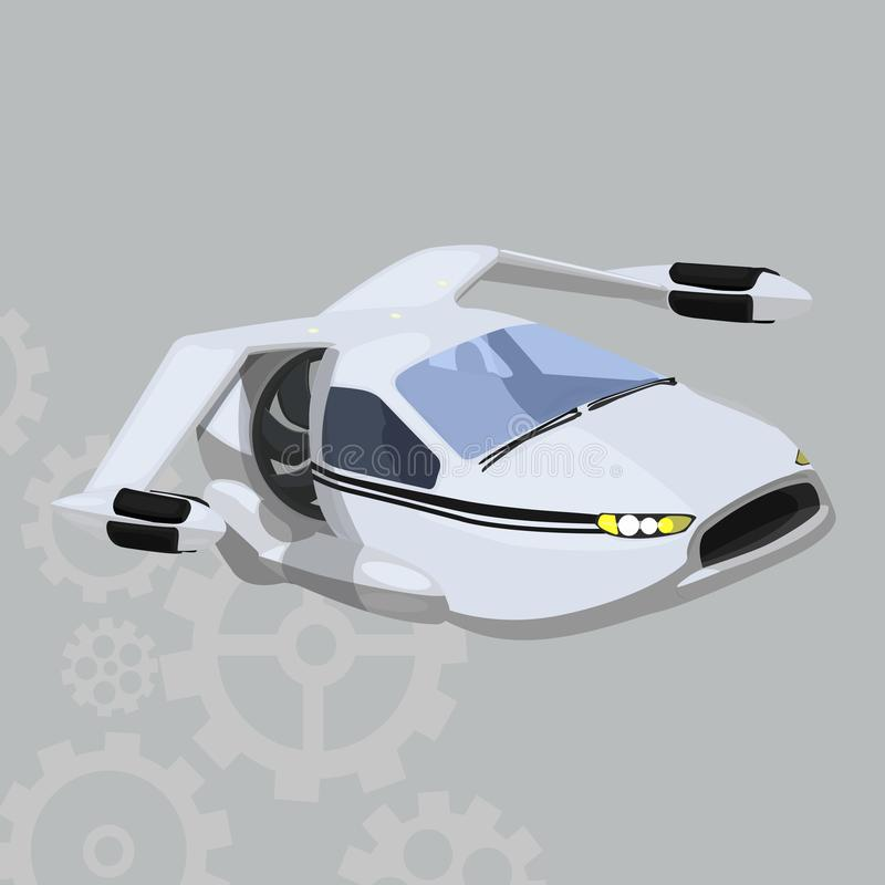 Flying car vector icon on a grey background. Futuristic electric car illustration isolated on grey. Aircraft realistic style royalty free illustration