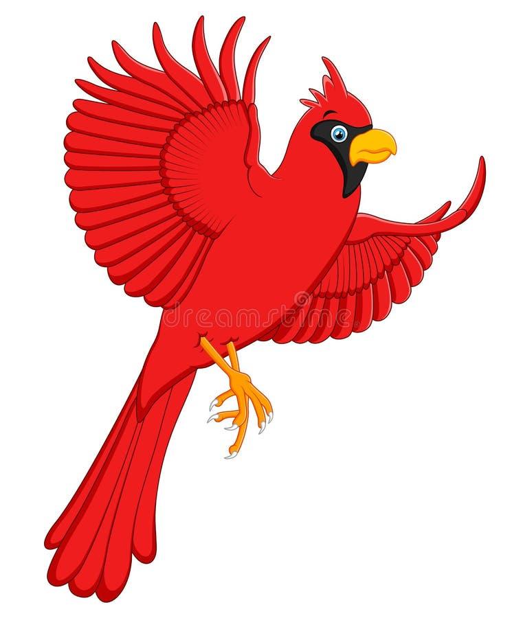 Flying cardinal cartoon stock illustration