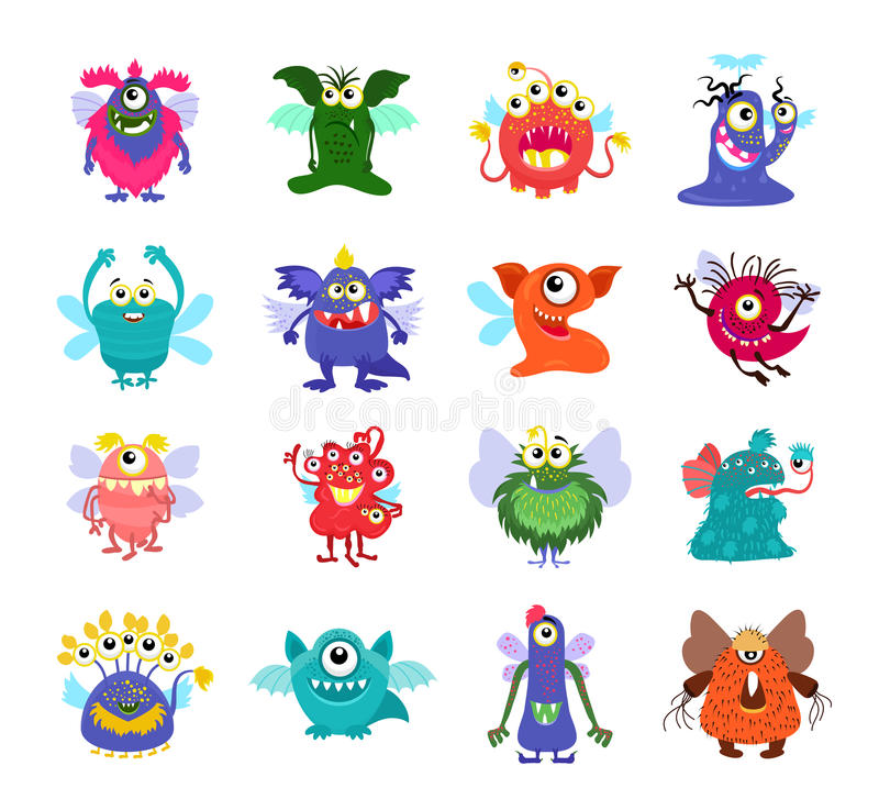 Flying cartoon monsters vector set for kids party stock illustration