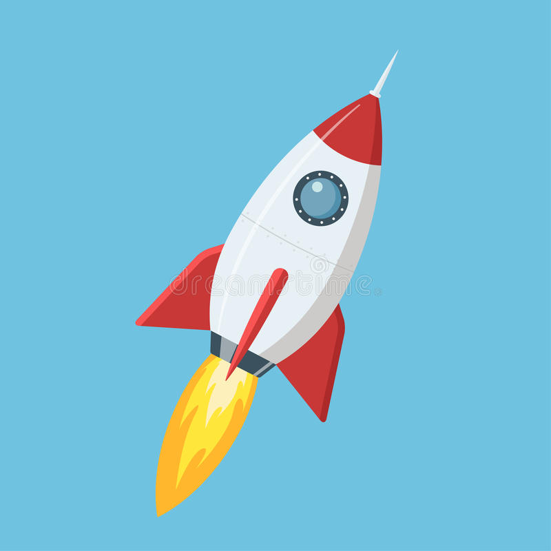 Flying cartoon rocket in flat style isolated on blue background. Vector illustration. stock images