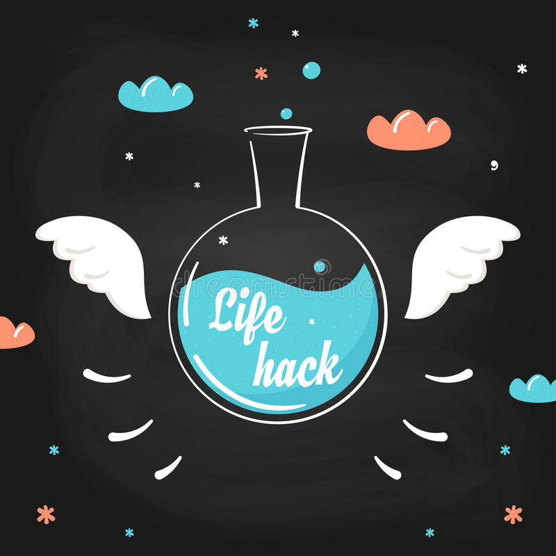 Flying chemistry bottle with wings and lifehack sign on it. Life hack trick, skills and methods concept illustration stock illustration