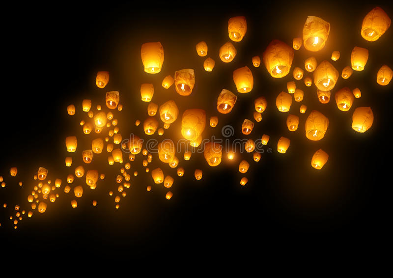 Flying Chinese Lanterns. Mass group of flying wishes (chinese lanterns vector illustration