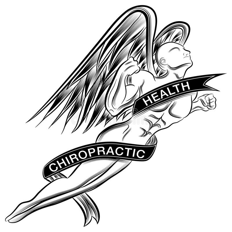 Flying Chiropractic Angel vector illustration