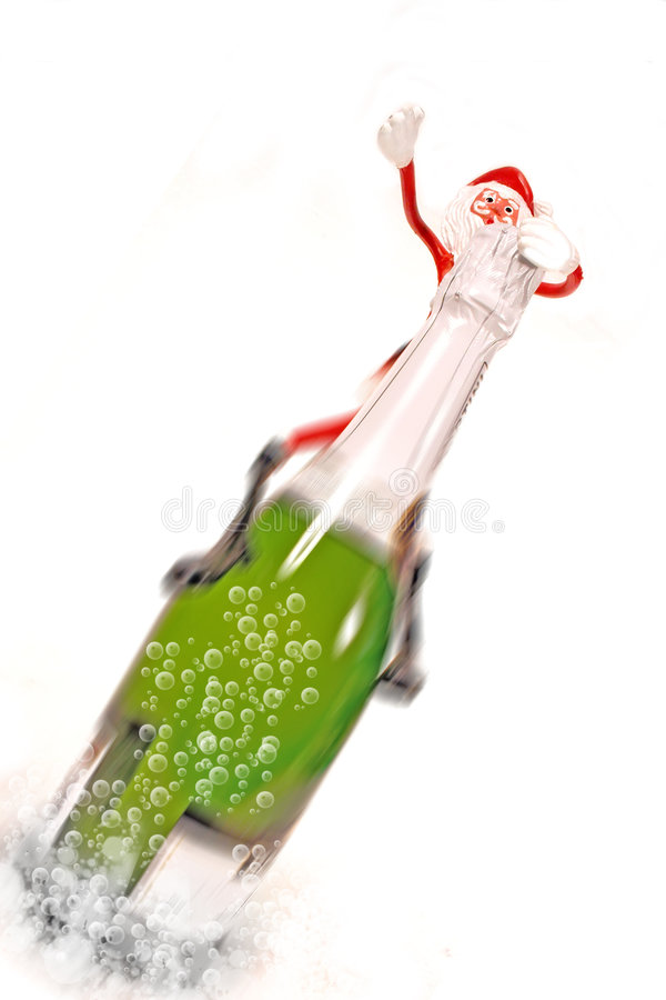 Flying Christmas Champagne royalty free stock image
