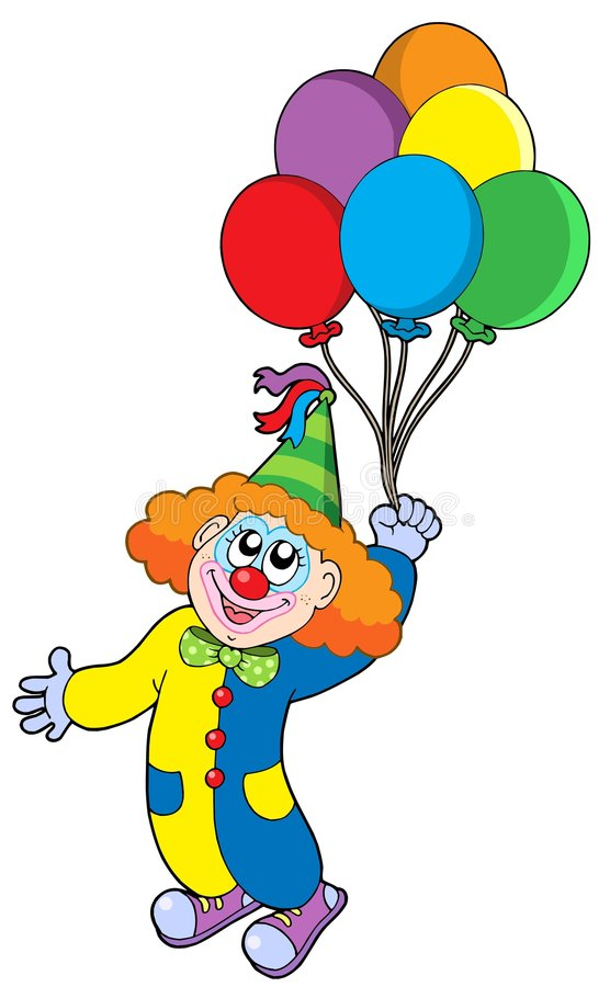 Flying clown with balloons stock photography image 7536542