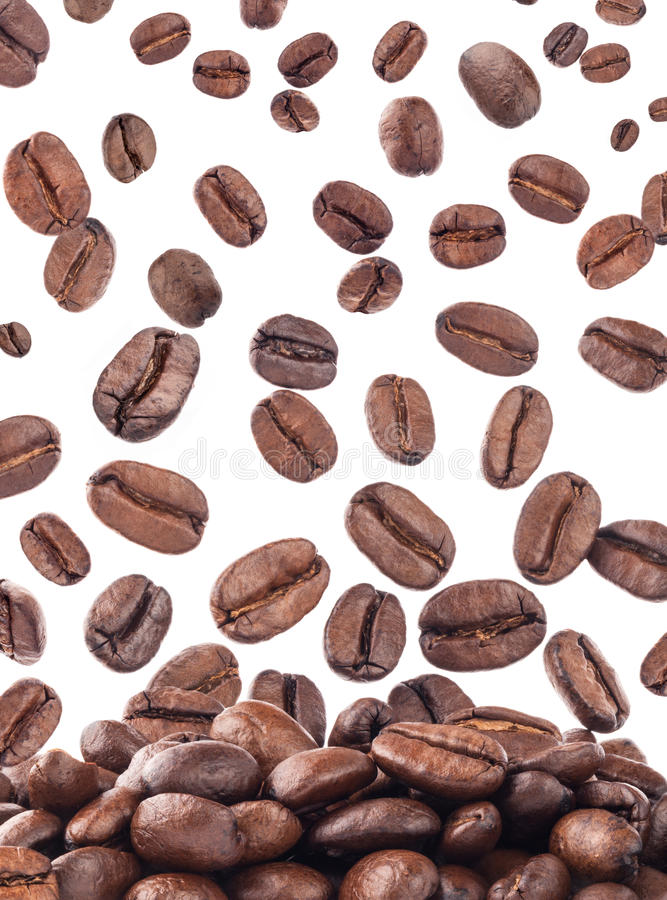 Flying coffee beans royalty free stock image