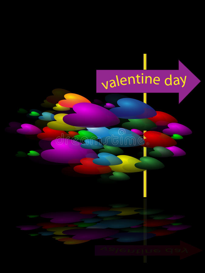Flying color hearts. Group of color flying hearts on black background stock illustration