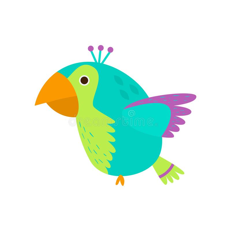 Flying colorful parrot in wild green amazon forest stock illustration