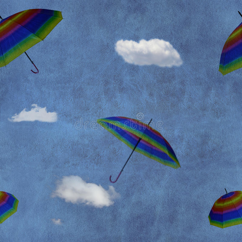 Flying colorful umbrellas on blue sky. Seamless pattern royalty free stock images