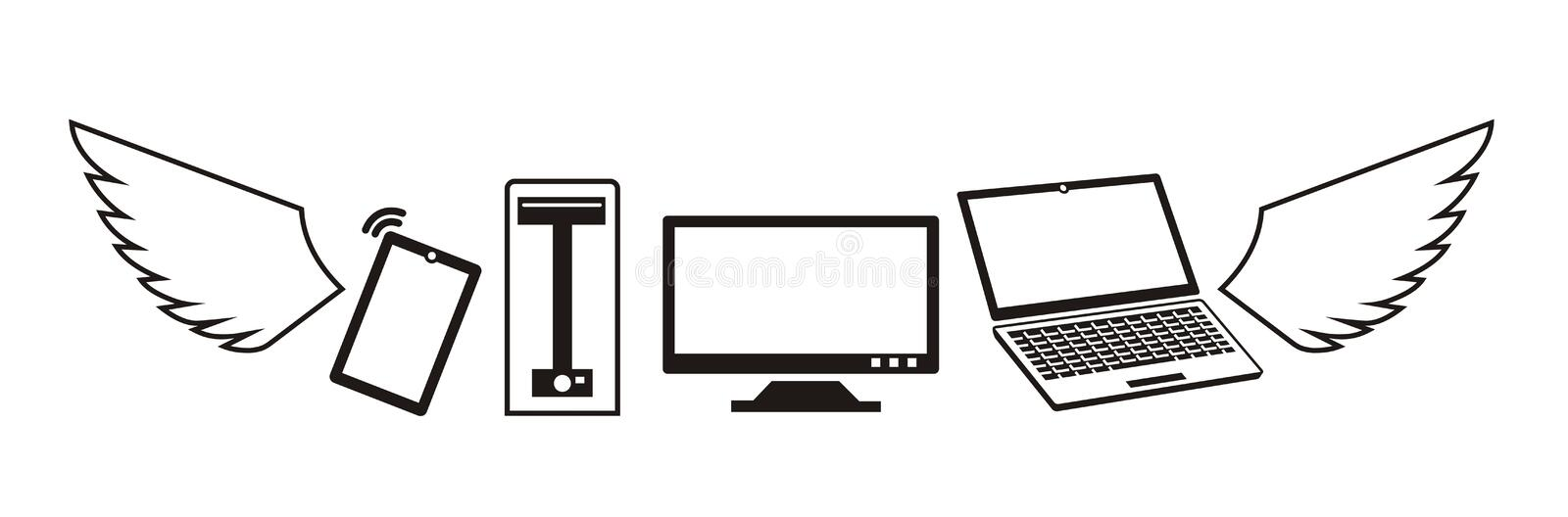 Flying computers and devices logo in vector. Flying computers and mobile devices on white background. Company logo in vector. Black-and-white version of image royalty free illustration