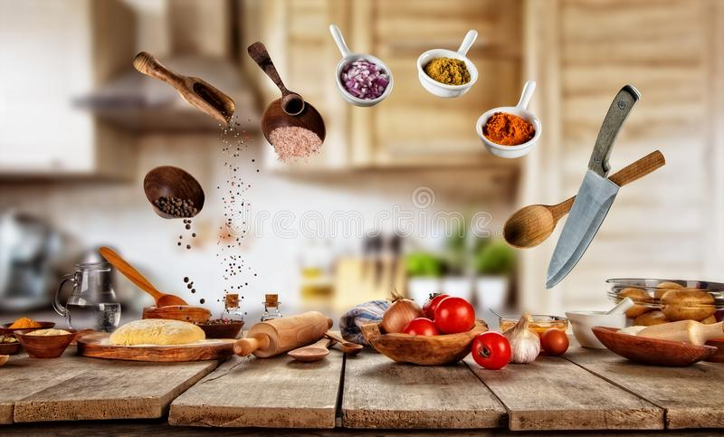 Flying cooking ingredients with food preparation. royalty free stock photo